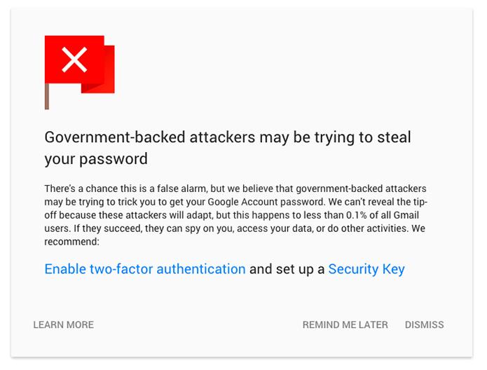 Google mostrará alerta em tela cheia para vítimas de espionagem