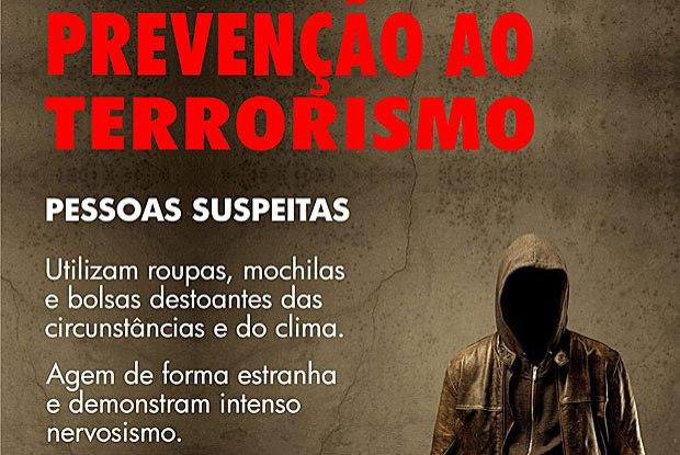 Cartaz de alerta da Abin ao terrorismo vira alvo de críticas nas redes sociais